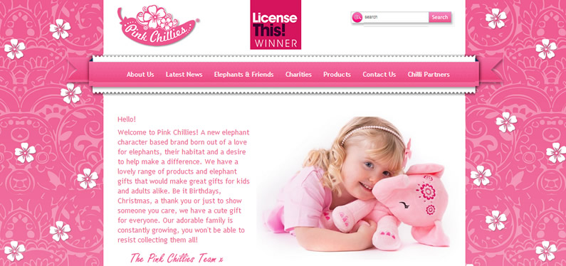 Online shopping website design for the Pink Chillies