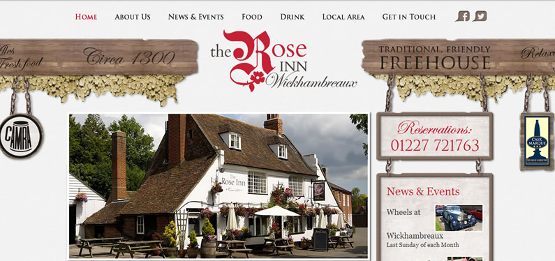 Website design for the pub in Canterbury
