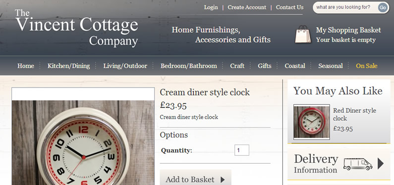 Online shopping website design for the Vincent Cottage Company